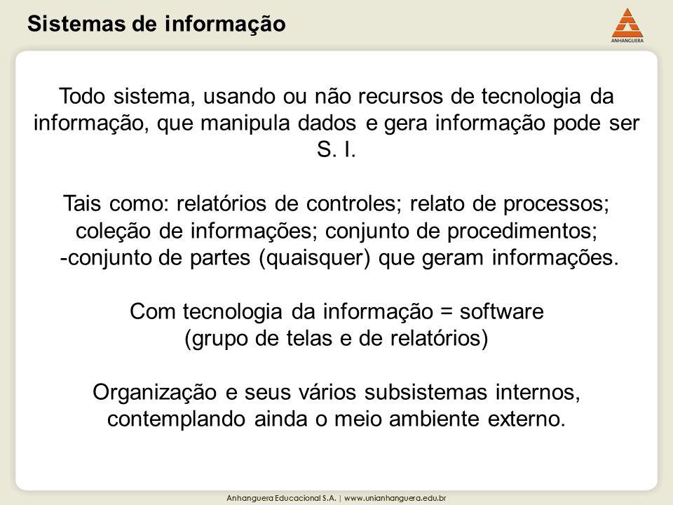 Anhanguera Educacional S.A. | www.unianhanguera.edu.br Sistemas de informação Todo sistema, usando ou não recursos de tecnologia da informação, que ma