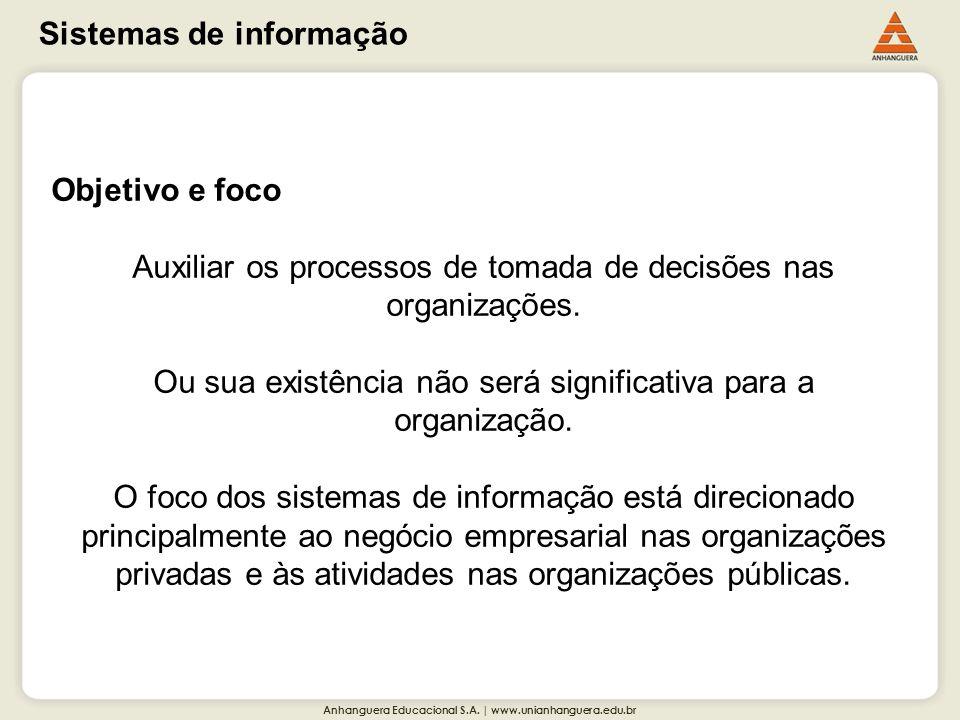 Anhanguera Educacional S.A. | www.unianhanguera.edu.br Sistemas de informação Objetivo e foco Auxiliar os processos de tomada de decisões nas organiza