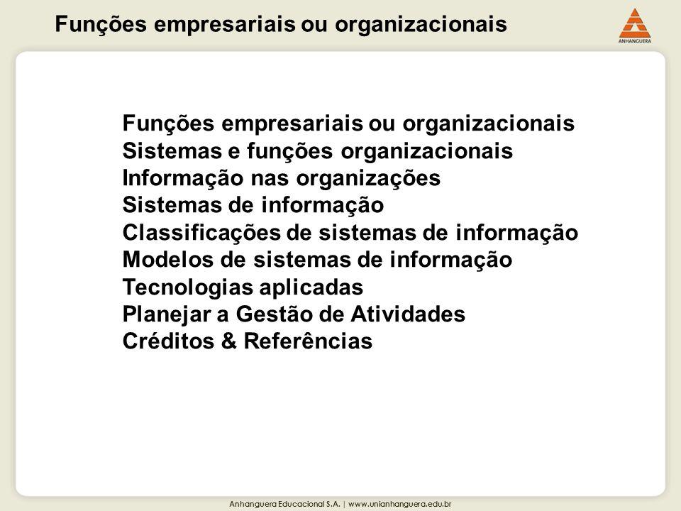 Anhanguera Educacional S.A. | www.unianhanguera.edu.br Funções empresariais ou organizacionais Sistemas e funções organizacionais Informação nas organ