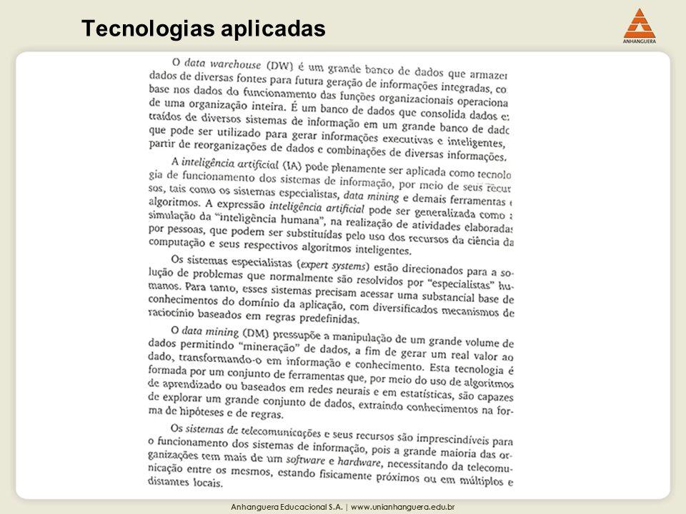 Anhanguera Educacional S.A. | www.unianhanguera.edu.br Tecnologias aplicadas