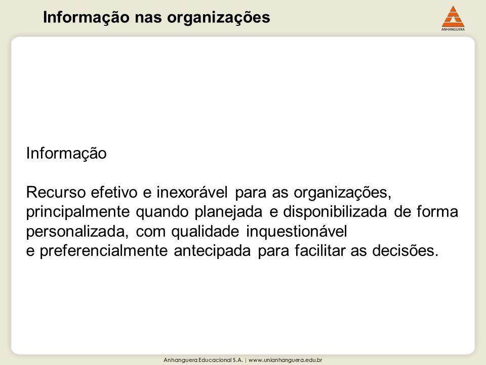 Anhanguera Educacional S.A. | www.unianhanguera.edu.br Informação nas organizações Informação Recurso efetivo e inexorável para as organizações, princ