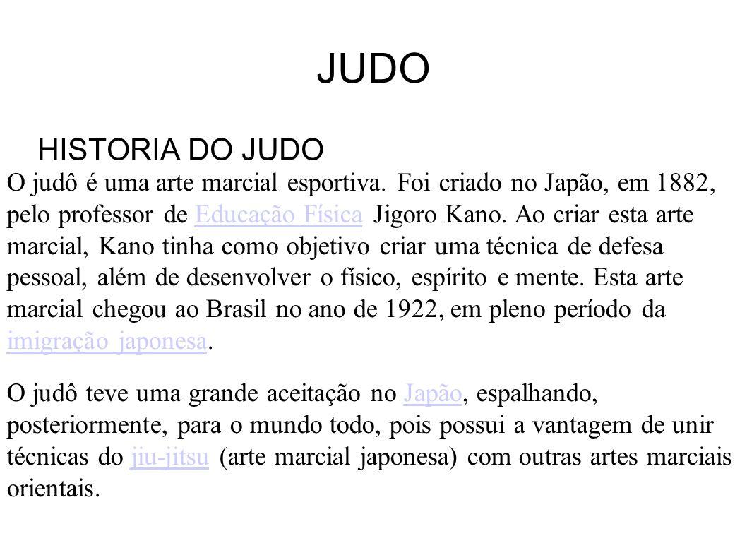 JUDO HISTORIA DO JUDO O judô é uma arte marcial esportiva. Foi criado no Japão, em 1882, pelo professor de Educação Física Jigoro Kano. Ao criar esta