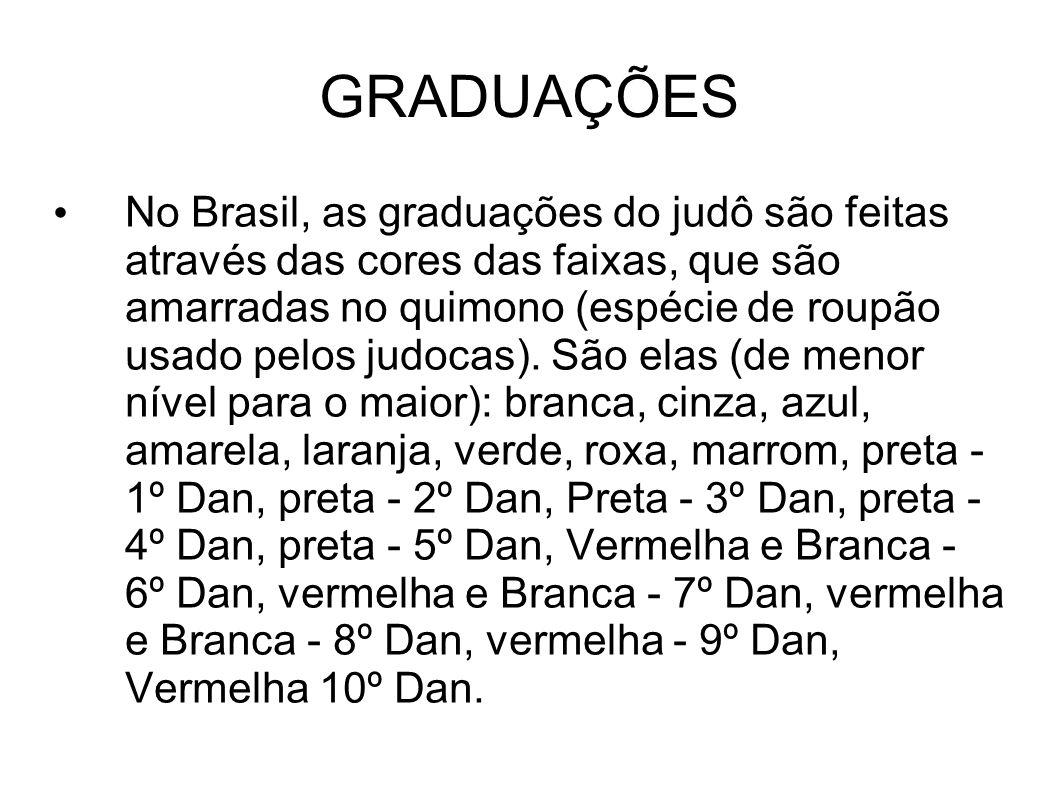 GRADUAÇÕES No Brasil, as graduações do judô são feitas através das cores das faixas, que são amarradas no quimono (espécie de roupão usado pelos judoc