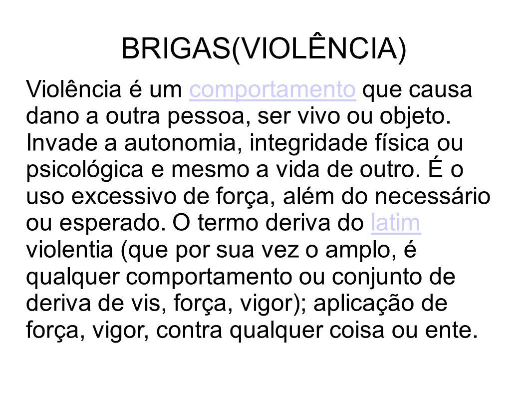 BRIGAS(VIOLÊNCIA) Violência é um comportamento que causa dano a outra pessoa, ser vivo ou objeto. Invade a autonomia, integridade física ou psicológic