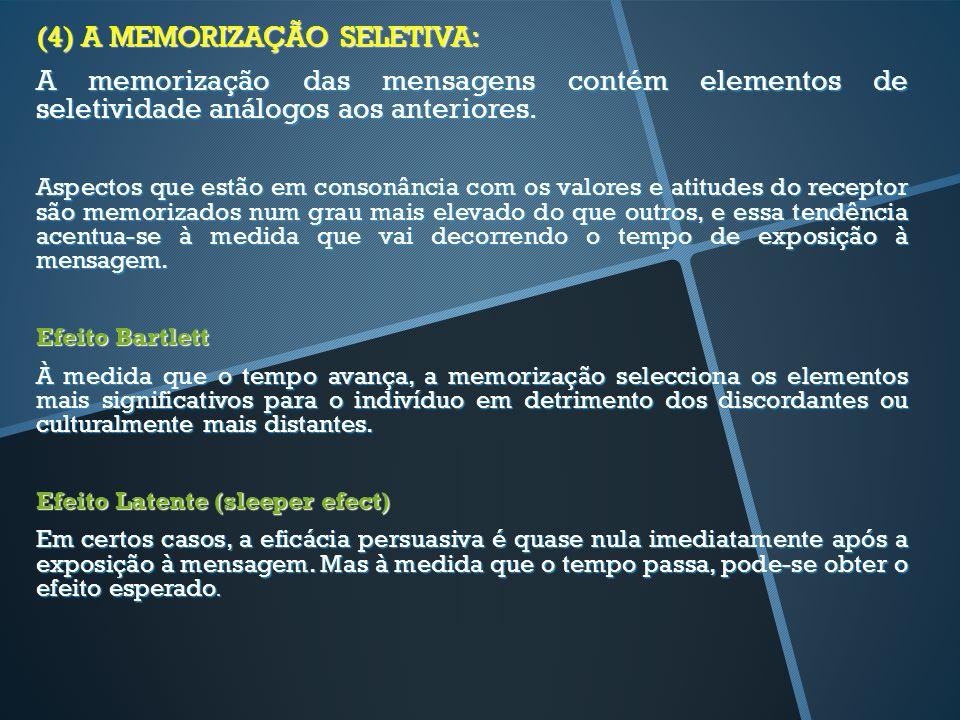 (4) A MEMORIZAÇÃO SELETIVA: A memorização das mensagens contém elementos de seletividade análogos aos anteriores. Aspectos que estão em consonância co