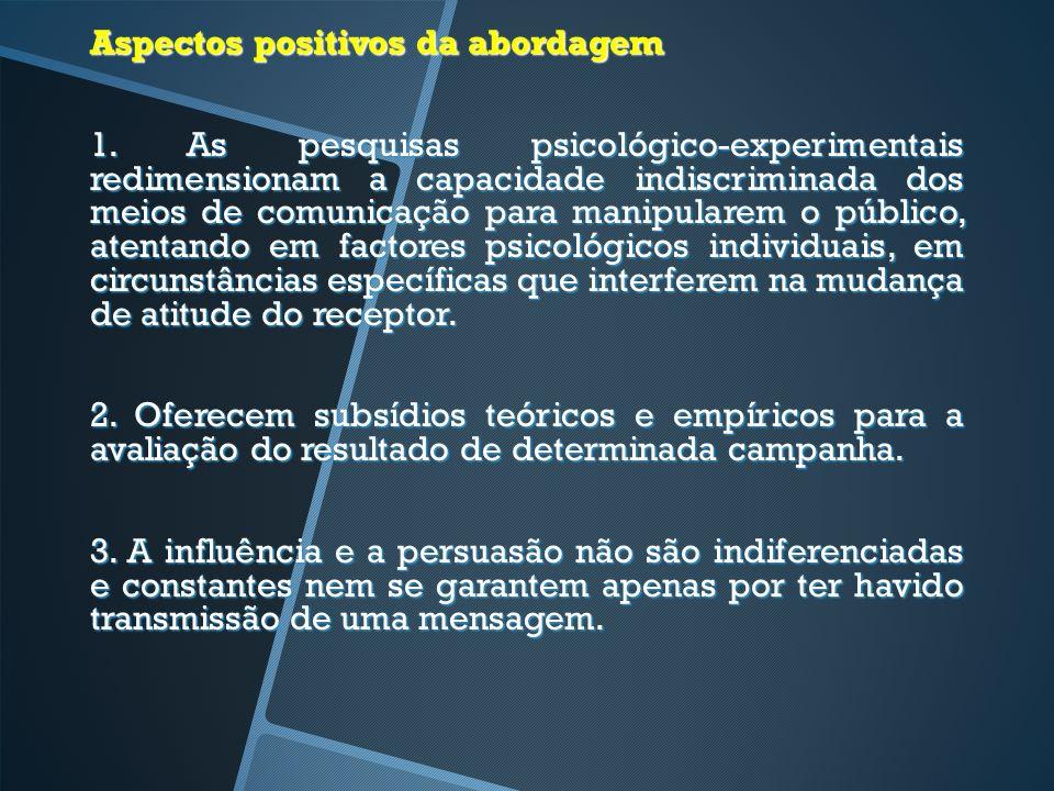 Aspectos positivos da abordagem 1. As pesquisas psicológico-experimentais redimensionam a capacidade indiscriminada dos meios de comunicação para mani