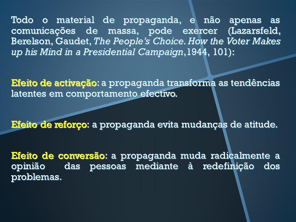 Todo o material de propaganda, e não apenas as comunicações de massa, pode exercer (Lazarsfeld, Berelson, Gaudet, The Peoples Choice. How the Voter Ma