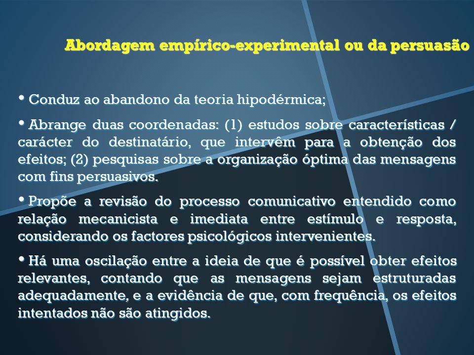 Abordagem empírico-experimental ou da persuasão Conduz ao abandono da teoria hipodérmica; Conduz ao abandono da teoria hipodérmica; Abrange duas coord