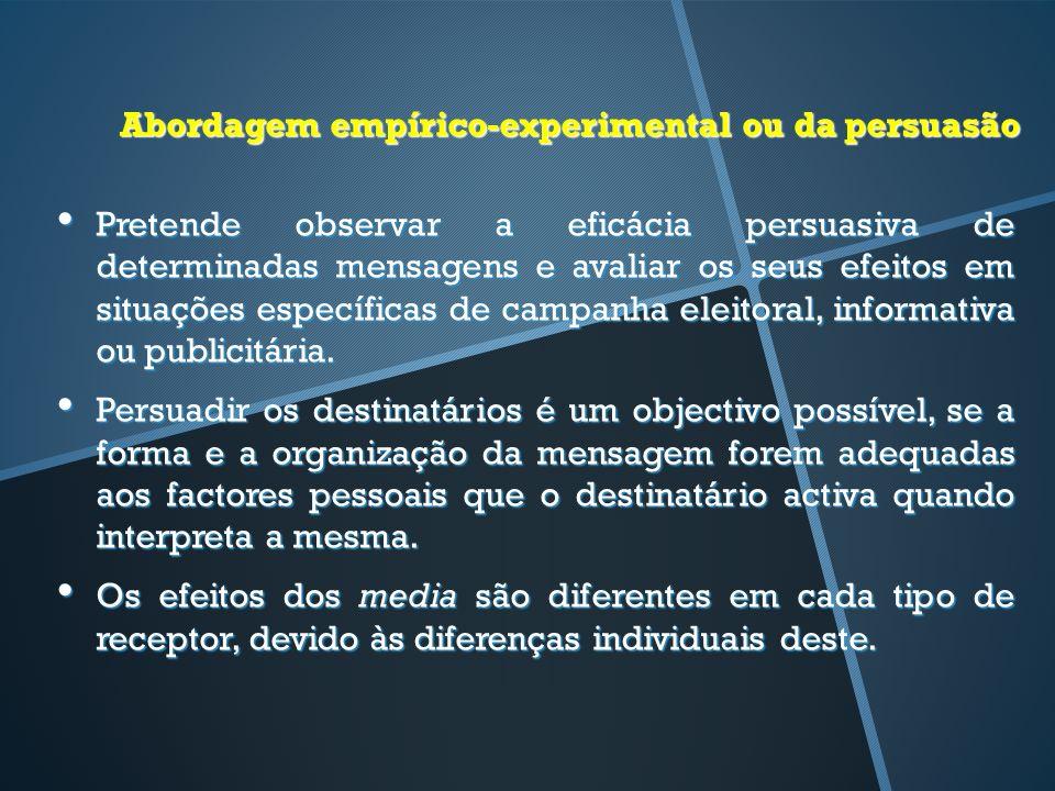 Abordagem empírico-experimental ou da persuasão Pretende observar a eficácia persuasiva de determinadas mensagens e avaliar os seus efeitos em situaçõ