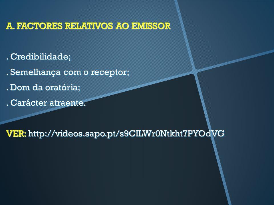A. FACTORES RELATIVOS AO EMISSOR. Credibilidade;. Semelhança com o receptor;. Dom da oratória;. Carácter atraente. VER: http://videos.sapo.pt/s9CILWr0