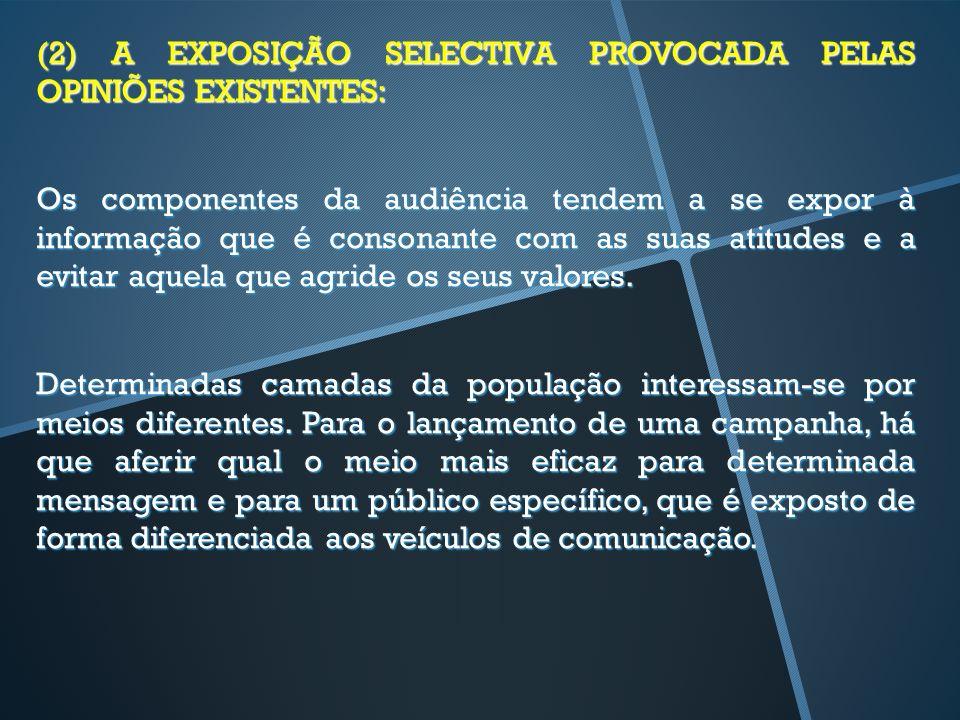(2) A EXPOSIÇÃO SELECTIVA PROVOCADA PELAS OPINIÕES EXISTENTES: Os componentes da audiência tendem a se expor à informação que é consonante com as suas