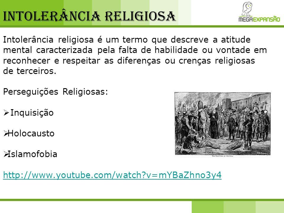 Intolerância religiosa Intolerância religiosa é um termo que descreve a atitude mental caracterizada pela falta de habilidade ou vontade em reconhecer