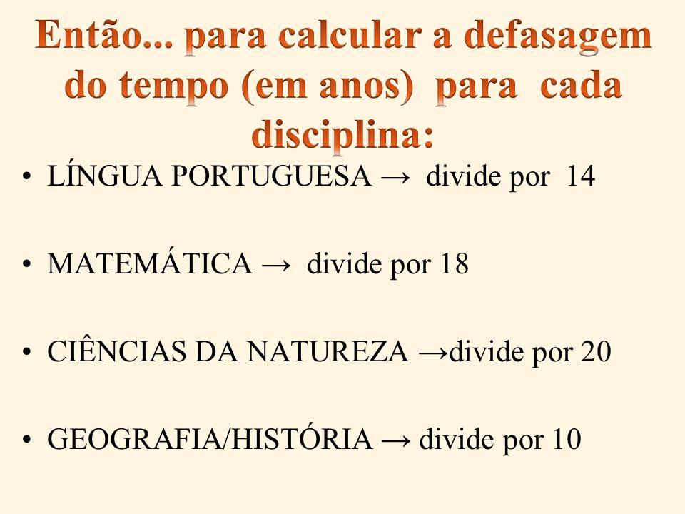 LÍNGUA PORTUGUESA divide por 14 MATEMÁTICA divide por 18 CIÊNCIAS DA NATUREZA divide por 20 GEOGRAFIA/HISTÓRIA divide por 10