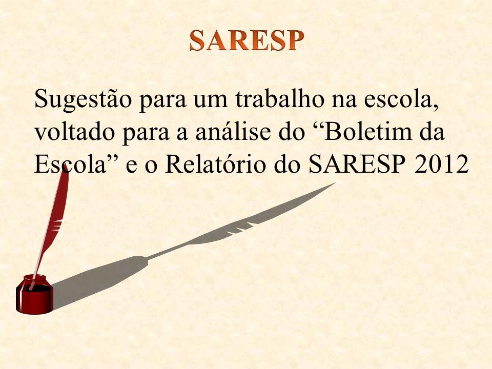 Sugestão para um trabalho na escola, voltado para a análise do Boletim da Escola e o Relatório do SARESP 2012