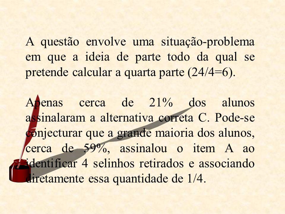 A questão envolve uma situação-problema em que a ideia de parte todo da qual se pretende calcular a quarta parte (24/4=6). Apenas cerca de 21% dos alu