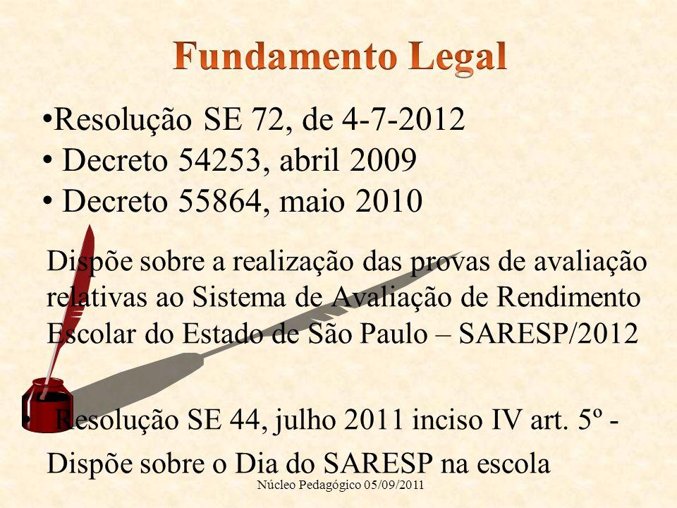 Dispõe sobre a realização das provas de avaliação relativas ao Sistema de Avaliação de Rendimento Escolar do Estado de São Paulo – SARESP/2012 Resoluç