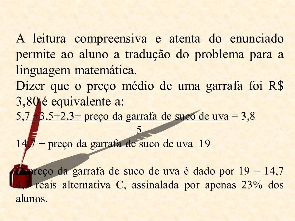 A leitura compreensiva e atenta do enunciado permite ao aluno a tradução do problema para a linguagem matemática. Dizer que o preço médio de uma garra