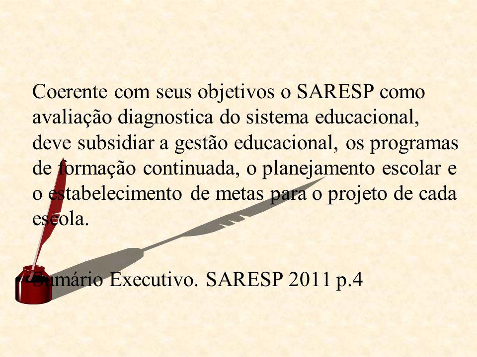 Coerente com seus objetivos o SARESP como avaliação diagnostica do sistema educacional, deve subsidiar a gestão educacional, os programas de formação