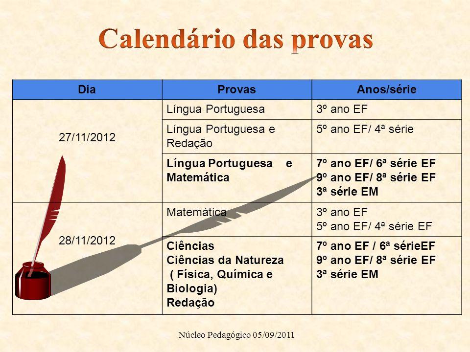 DiaProvasAnos/série 27/11/2012 Língua Portuguesa3º ano EF Língua Portuguesa e Redação 5º ano EF/ 4ª série Língua Portuguesa e Matemática 7º ano EF/ 6ª
