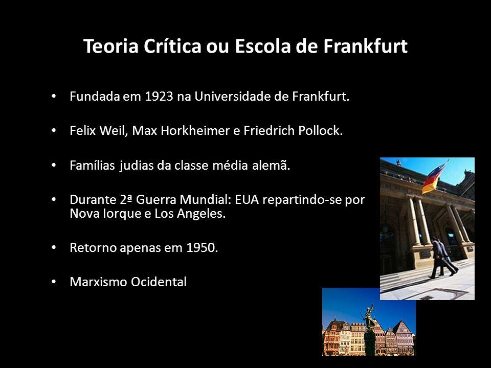 Fundada em 1923 na Universidade de Frankfurt. Felix Weil, Max Horkheimer e Friedrich Pollock. Famílias judias da classe média alemã. Durante 2ª Guerra