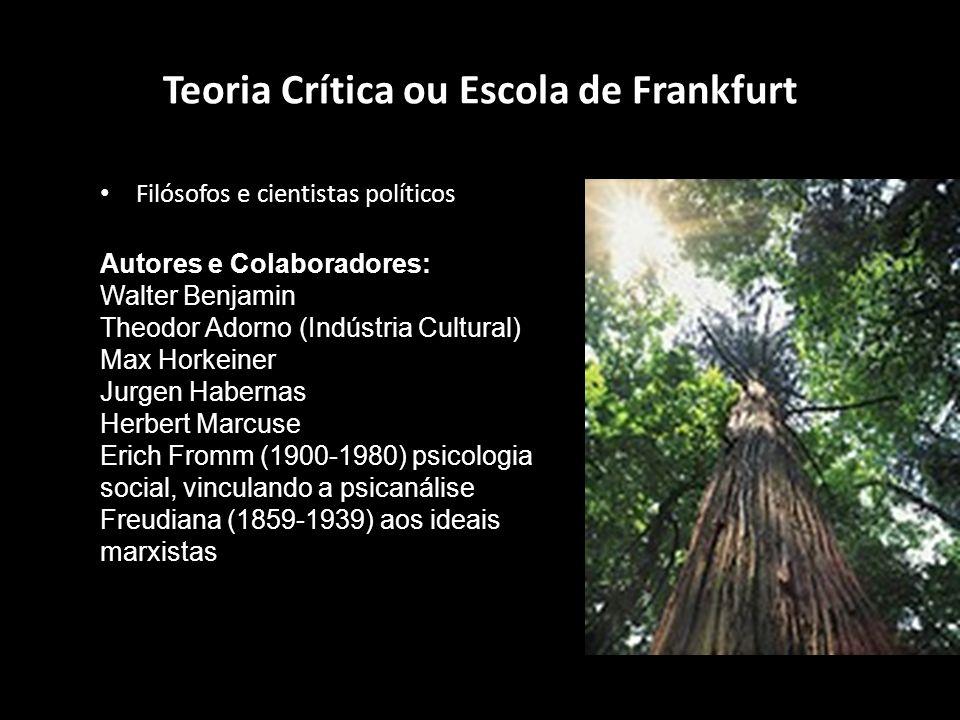 Teoria Crítica ou Escola de Frankfurt Filósofos e cientistas políticos Autores e Colaboradores: Walter Benjamin Theodor Adorno (Indústria Cultural) Ma