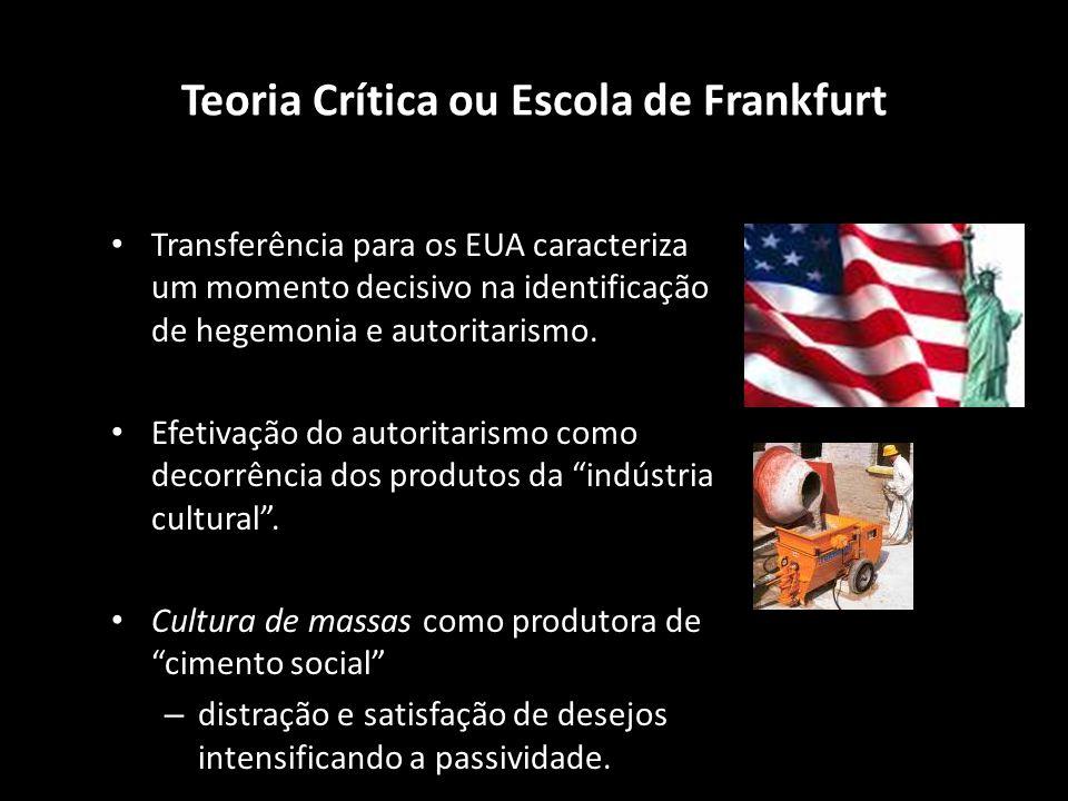 Teoria Crítica ou Escola de Frankfurt Transferência para os EUA caracteriza um momento decisivo na identificação de hegemonia e autoritarismo. Efetiva