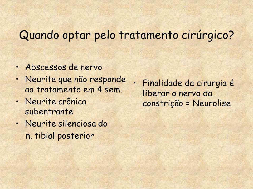 Quando optar pelo tratamento cirúrgico? Abscessos de nervo Neurite que não responde ao tratamento em 4 sem. Neurite crônica subentrante Neurite silenc