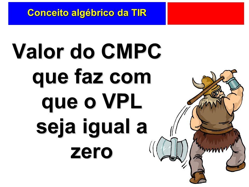 Conceito algébrico da TIR Valor do CMPC que faz com que o VPL seja igual a zero
