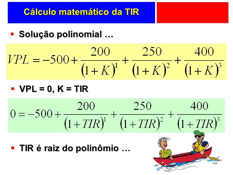 Cálculo matemático da TIR Solução polinomial … Solução polinomial … VPL = 0, K = TIR VPL = 0, K = TIR TIR é raiz do polinômio … TIR é raiz do polinômi