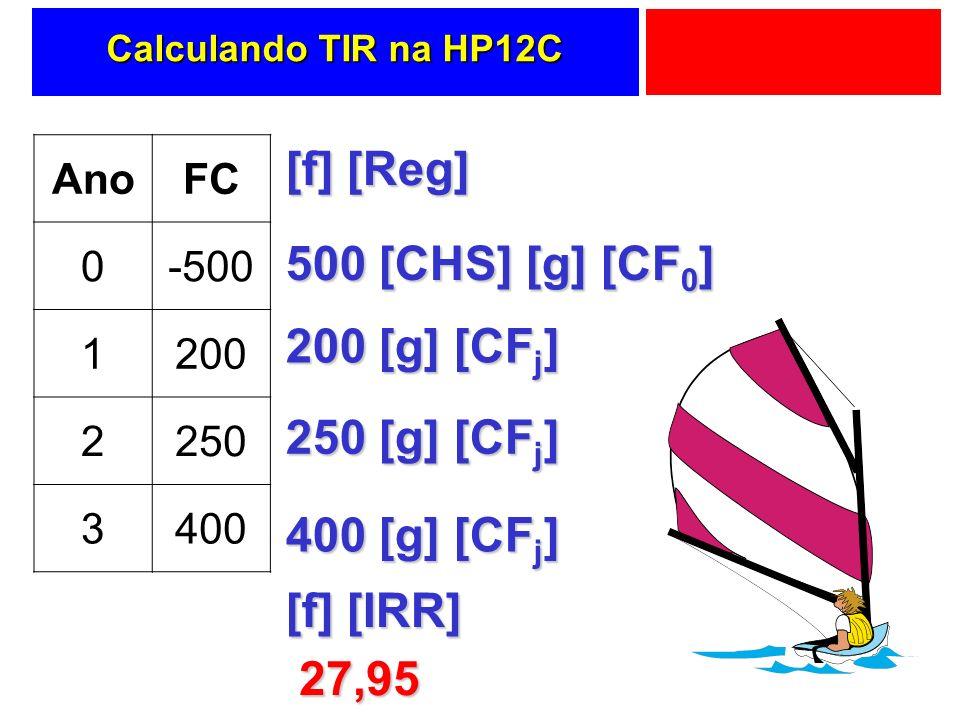 Calculando TIR na HP12C AnoFC 0-500 1200 2250 3400 [f] [Reg] 500 [CHS] [g] [CF 0 ] 200 [g] [CF j ] 250 [g] [CF j ] 400 [g] [CF j ] [f] [IRR] 27,95