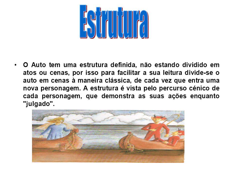 O Auto tem uma estrutura definida, não estando dividido em atos ou cenas, por isso para facilitar a sua leitura divide-se o auto em cenas à maneira cl