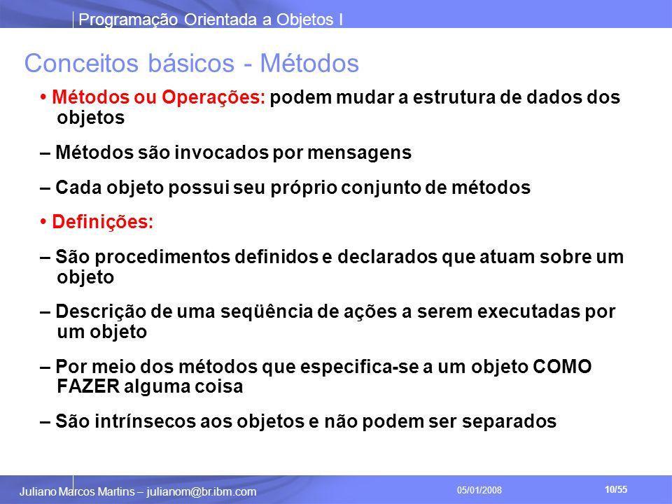 Programação Orientada a Objetos I 10/55 Juliano Marcos Martins – julianom@br.ibm.com 05/01/2008 Conceitos básicos - Métodos Métodos ou Operações: podem mudar a estrutura de dados dos objetos – Métodos são invocados por mensagens – Cada objeto possui seu próprio conjunto de métodos Definições: – São procedimentos definidos e declarados que atuam sobre um objeto – Descrição de uma seqüência de ações a serem executadas por um objeto – Por meio dos métodos que especifica-se a um objeto COMO FAZER alguma coisa – São intrínsecos aos objetos e não podem ser separados