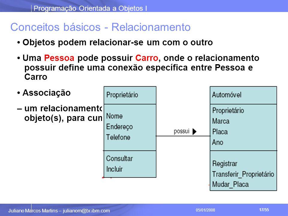 Programação Orientada a Objetos I 17/55 Juliano Marcos Martins – julianom@br.ibm.com 05/01/2008 Conceitos básicos - Relacionamento Objetos podem relacionar-se um com o outro Uma Pessoa pode possuir Carro, onde o relacionamento possuir define uma conexão específica entre Pessoa e Carro Associação – um relacionamento que um objeto precisa ter com outro(s) objeto(s), para cumprir suas responsabilidades