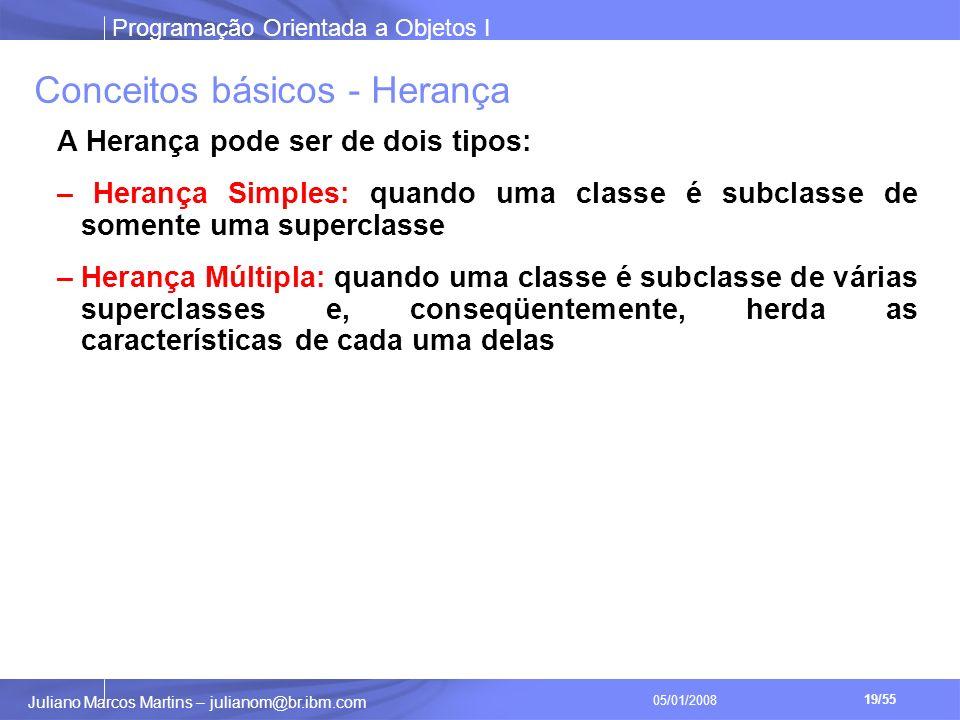 Programação Orientada a Objetos I 19/55 Juliano Marcos Martins – julianom@br.ibm.com 05/01/2008 Conceitos básicos - Herança A Herança pode ser de dois tipos: – Herança Simples: quando uma classe é subclasse de somente uma superclasse – Herança Múltipla: quando uma classe é subclasse de várias superclasses e, conseqüentemente, herda as características de cada uma delas
