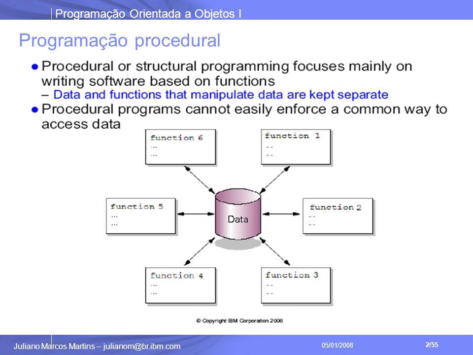 Programação Orientada a Objetos I 2/55 Juliano Marcos Martins – julianom@br.ibm.com 05/01/2008 Programação procedural