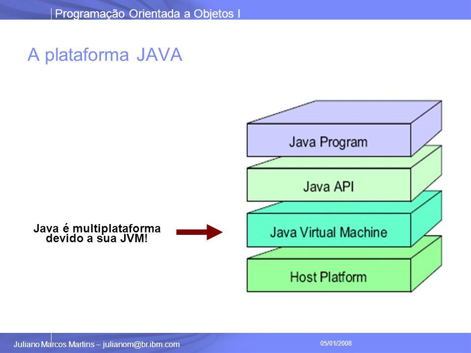 Programação Orientada a Objetos I Juliano Marcos Martins – julianom@br.ibm.com 05/01/2008 A plataforma JAVA Java é multiplataforma devido a sua JVM!