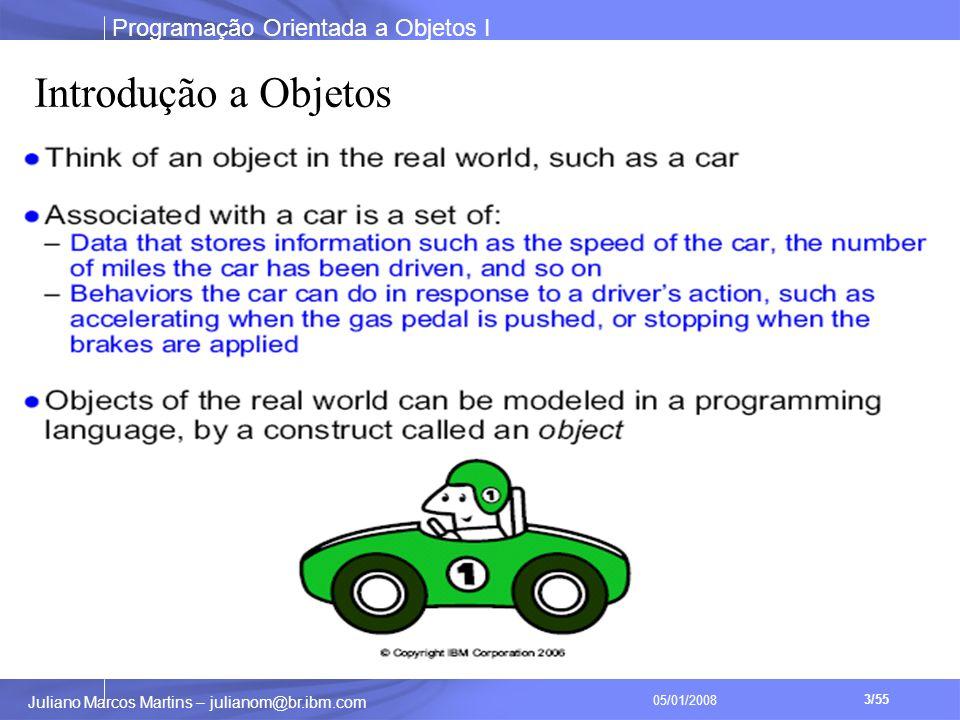 Programação Orientada a Objetos I 3/55 Juliano Marcos Martins – julianom@br.ibm.com 05/01/2008 Introdução a Objetos