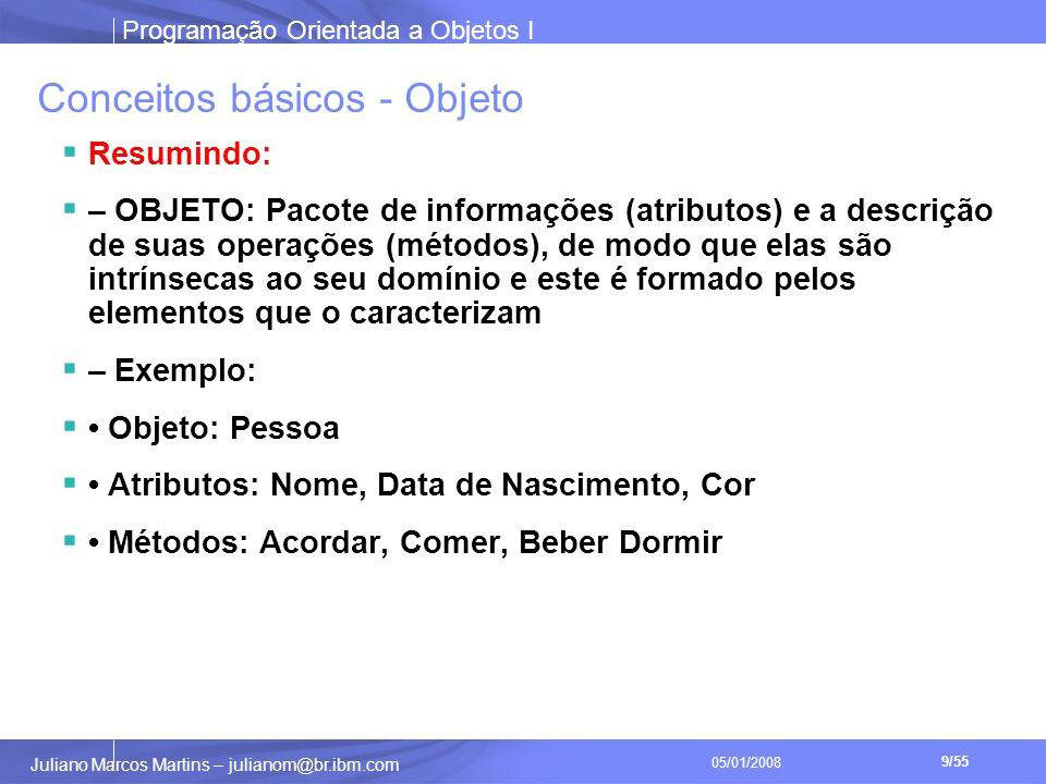 Programação Orientada a Objetos I 9/55 Juliano Marcos Martins – julianom@br.ibm.com 05/01/2008 Conceitos básicos - Objeto Resumindo: – OBJETO: Pacote de informações (atributos) e a descrição de suas operações (métodos), de modo que elas são intrínsecas ao seu domínio e este é formado pelos elementos que o caracterizam – Exemplo: Objeto: Pessoa Atributos: Nome, Data de Nascimento, Cor Métodos: Acordar, Comer, Beber Dormir