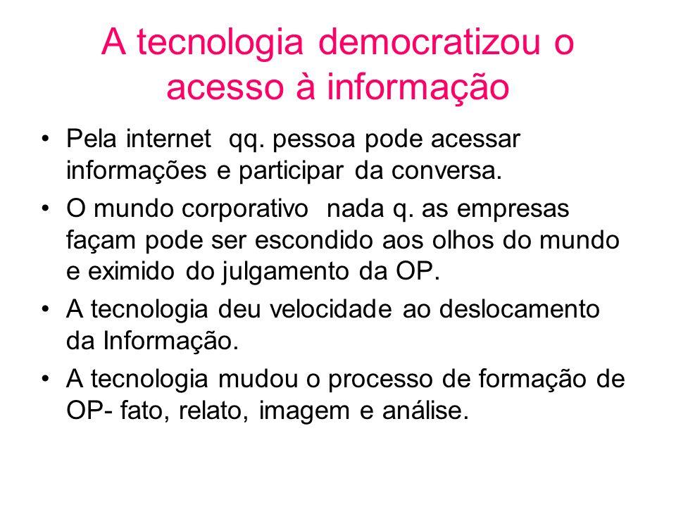 A tecnologia democratizou o acesso à informação Pela internet qq. pessoa pode acessar informações e participar da conversa. O mundo corporativo nada q