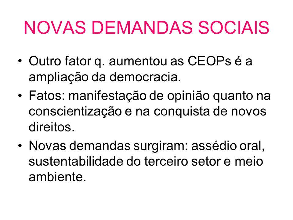 NOVAS DEMANDAS SOCIAIS Outro fator q. aumentou as CEOPs é a ampliação da democracia. Fatos: manifestação de opinião quanto na conscientização e na con