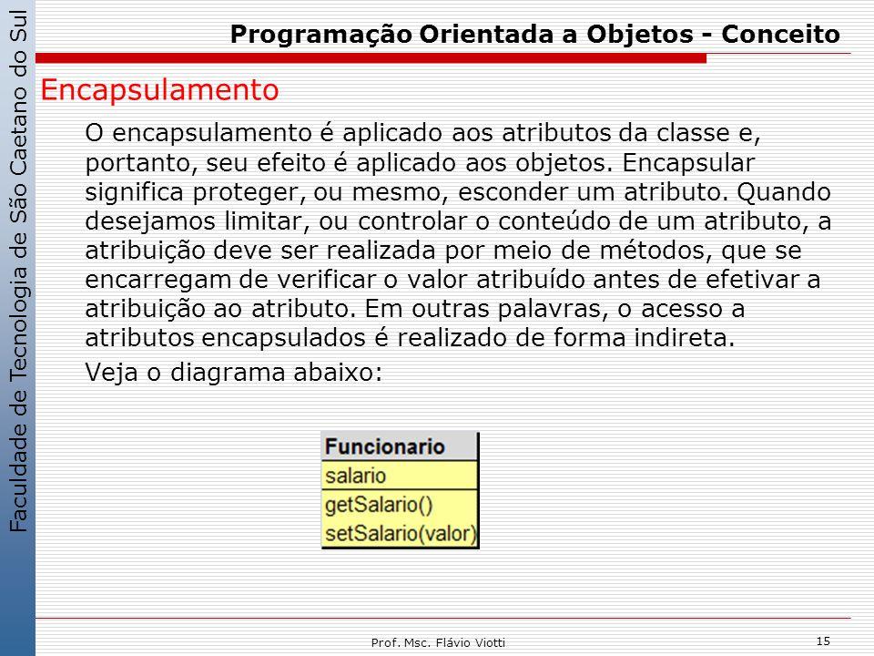 Faculdade de Tecnologia de São Caetano do Sul 15 Prof. Msc. Flávio Viotti Programação Orientada a Objetos - Conceito Encapsulamento O encapsulamento é