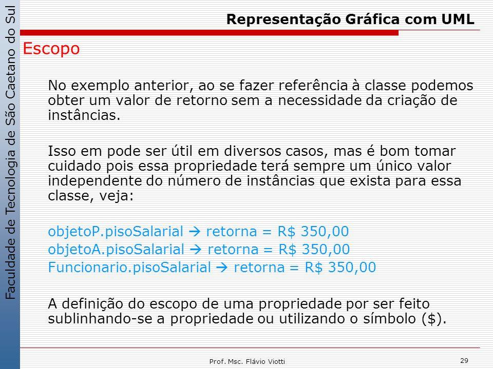 Faculdade de Tecnologia de São Caetano do Sul 29 Prof. Msc. Flávio Viotti Representação Gráfica com UML Escopo No exemplo anterior, ao se fazer referê