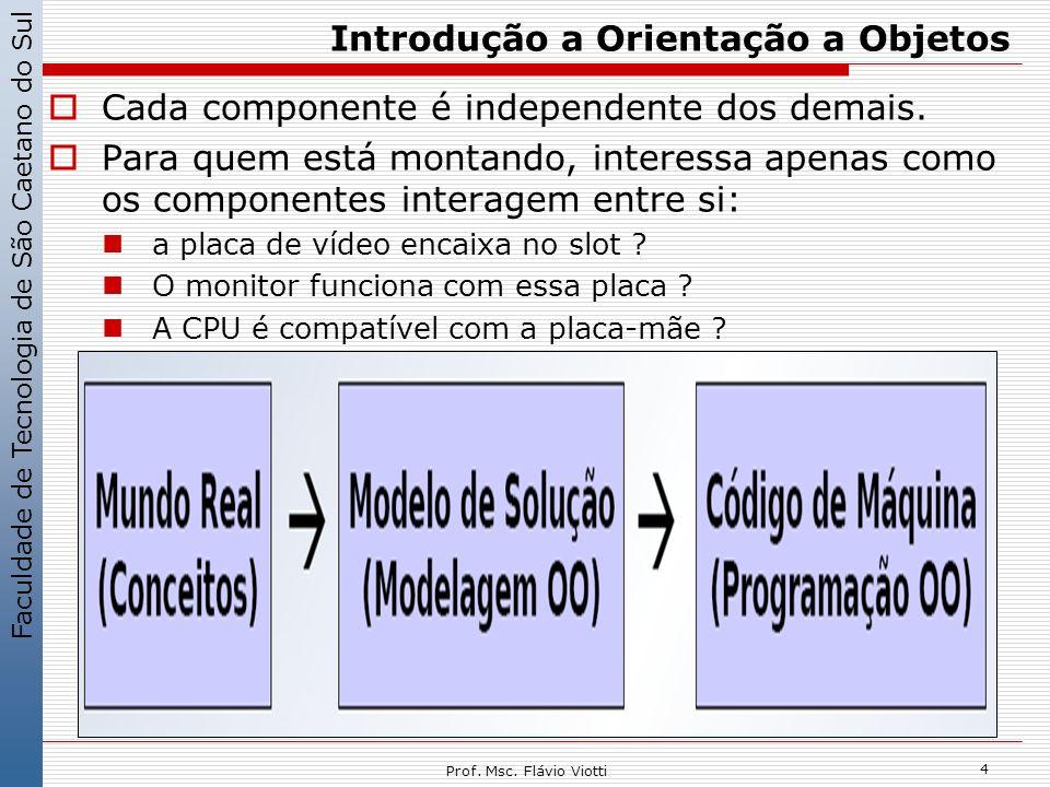 Faculdade de Tecnologia de São Caetano do Sul 4 Prof. Msc. Flávio Viotti Introdução a Orientação a Objetos Cada componente é independente dos demais.