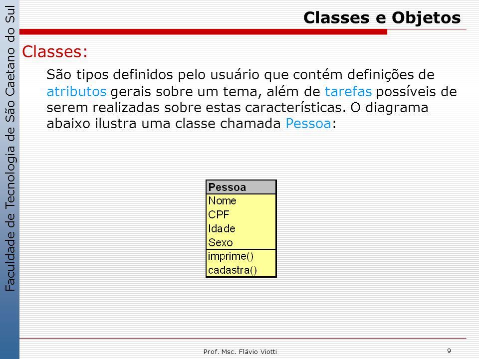 Faculdade de Tecnologia de São Caetano do Sul 9 Prof. Msc. Flávio Viotti Classes e Objetos Classes: São tipos definidos pelo usuário que contém defini