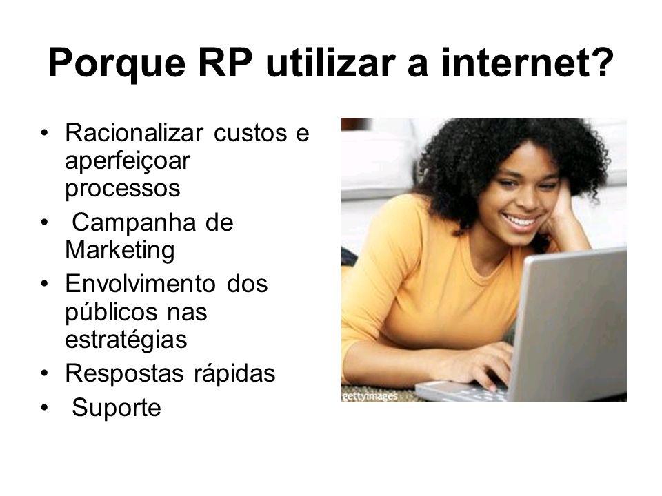 Porque RP utilizar a internet? Racionalizar custos e aperfeiçoar processos Campanha de Marketing Envolvimento dos públicos nas estratégias Respostas r