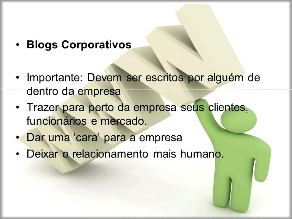 Blogs Corporativos Importante: Devem ser escritos por alguém de dentro da empresa Trazer para perto da empresa seus clientes, funcionários e mercado.