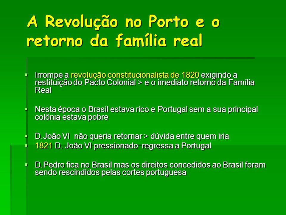 A Revolução no Porto e o retorno da família real Irrompe a revolução constitucionalista de 1820 exigindo a restituição do Pacto Colonial > e o imediat