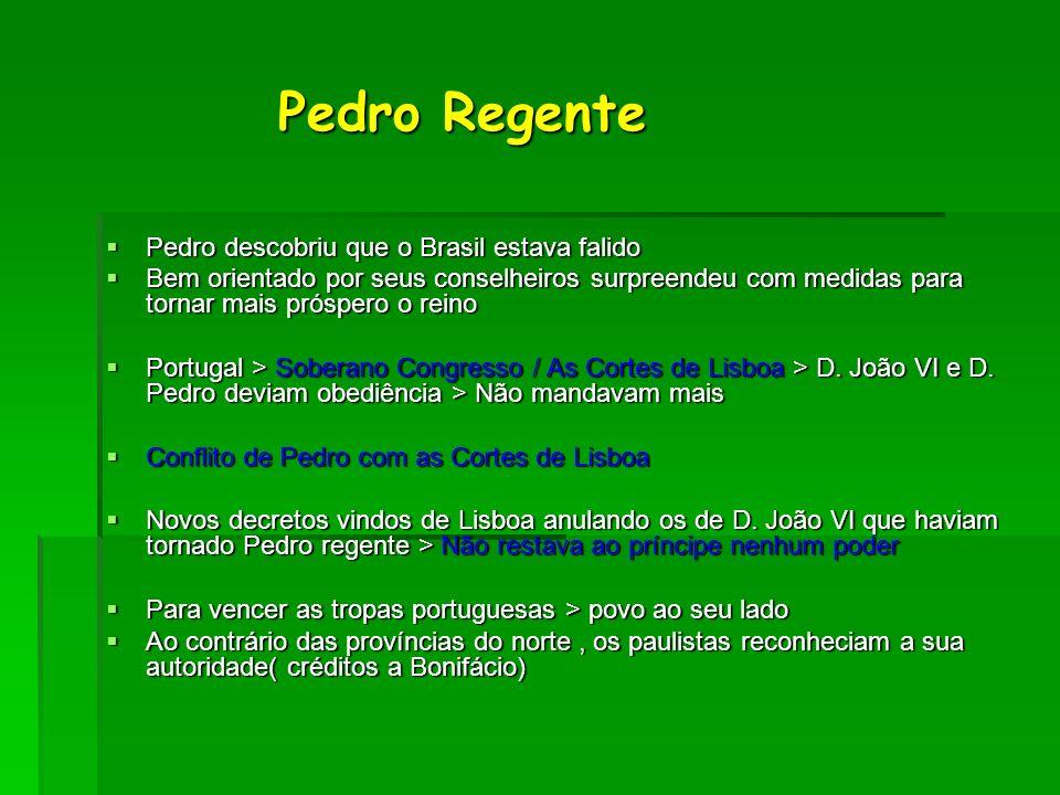 Pedro Regente Pedro Regente Pedro descobriu que o Brasil estava falido Pedro descobriu que o Brasil estava falido Bem orientado por seus conselheiros