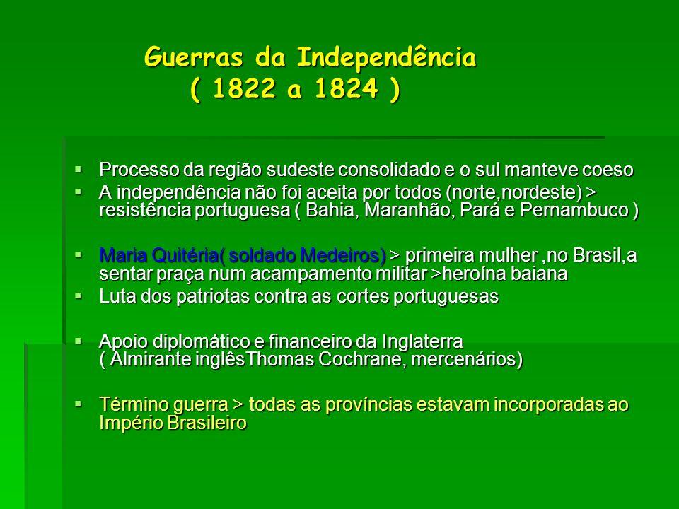 Guerras da Independência ( 1822 a 1824 ) Guerras da Independência ( 1822 a 1824 ) Processo da região sudeste consolidado e o sul manteve coeso Process