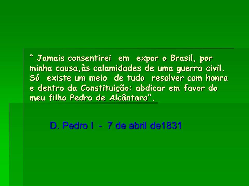 Jamais consentirei em expor o Brasil, por minha causa,às calamidades de uma guerra civil. Só existe um meio de tudo resolver com honra e dentro da Con
